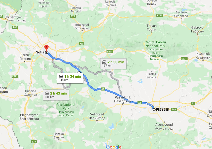 How to get from Plovdiv to Sofia?